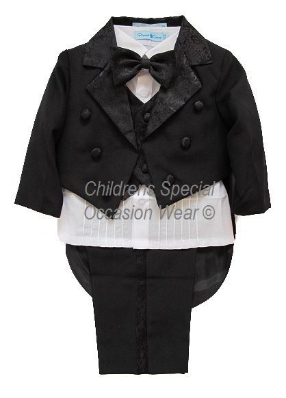 Baby boys black & white 5 piece tuxedo tail dinner suit, perfect for a christening, wedding, special occasion etc, tails jacket, shirt, waistcoat, bow tie, trousers, Childrens Special Occasion Wear