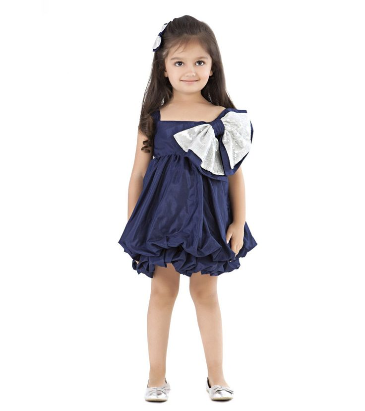 Blue Sequined #Georgette And #Silk Blend #Dress for #kids by #Kidology at #Indianroots