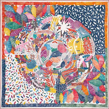 2016年秋冬コレクション<br />《それぞれの巣作り》<br />カレ 90<br />シルクツイル<br />シルク 100%<br />サイズ: 90×90 cm