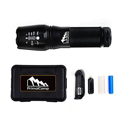 PrimalCamp Survival Gear Tactical LED Flashlight Torch 800 Lumens High Powered Rechargeable Strobe Flashlight For Camping Gear Fishing Biking Hiking First Aid  Emergency *** You can find more details by visiting the image link.Note:It is affiliate link to Amazon.