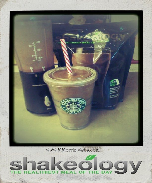 """""""Better Than starbucks"""" Mocha Frap This is MINE, and my all time favorite!! 5 oz cold coffee 5 oz almond milk 1 tsp. Honey 1 scoop chocolate shakeology crushed Ice blend and enjoy!"""