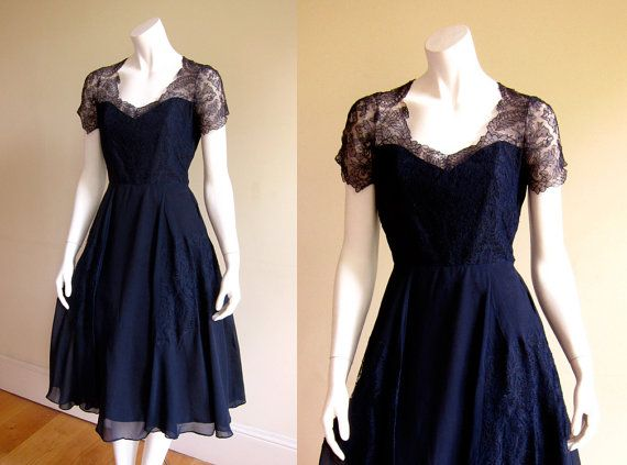 Gorgeous 1950 39 s navy blue chiffon and lace party dress for Midnight blue wedding dress