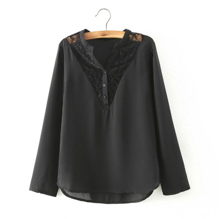 Women lace spliced black chiffon blouses long sleeve V-neck office sexy shirts European fashion casual loose tops LT764