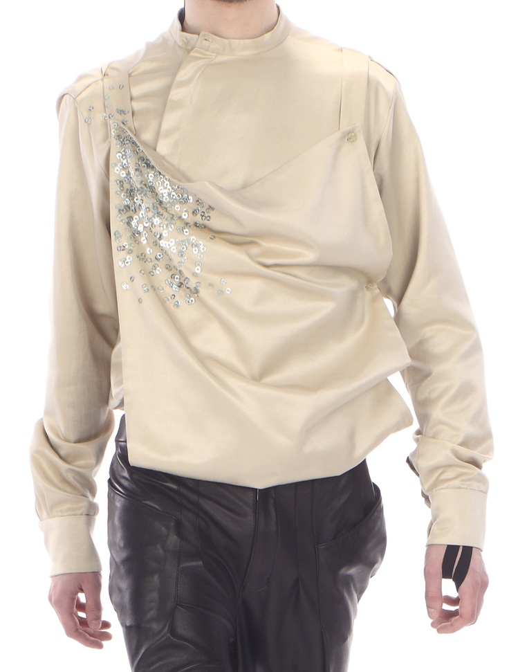 Detail: shirt- apron ( satin cotton with embroided metal elements )