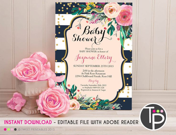 BABY SHOWER Invitation, Instant Download, Watercolor Floral Baby Shower Invitation, Watercolor flowers, Edit yourself with Adobe Reader by TweetPartyPrintables on Etsy https://www.etsy.com/listing/251409814/baby-shower-invitation-instant-download