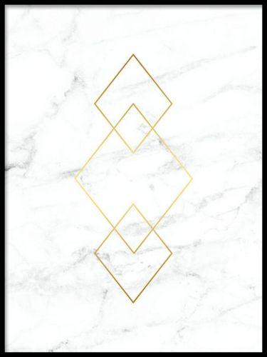 Poster mit Rautenformen in Gold auf weißem Marmor. Extrem schönes und luxuriöses Poster für das gewisse Etwas. Es passt ausgezeichnet zu anderen Postern mit Marmor oder auch anderen Postern. www.desenio.de