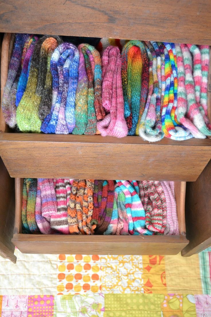 Susan B. Anderson's drawer of handknit socks is a thing of beauty.
