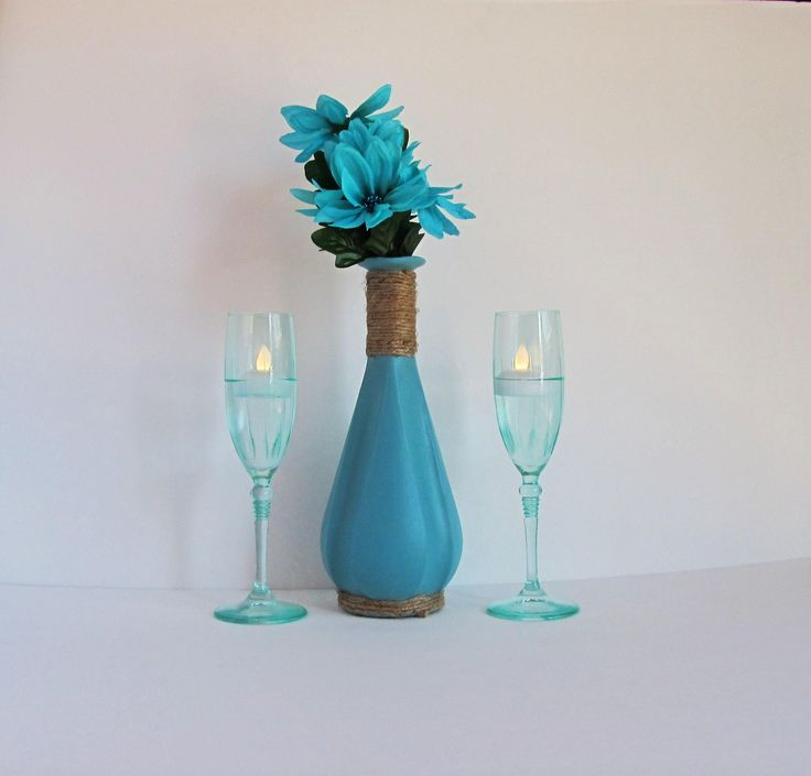 Blue Wine Decanter, Blue Wine Set, Crystal Champagne Glass, Twine Wrapped, Rustic Wine Bottle, Blue Vase Set, Rustic Vase Set, Gift for Her by ThisUniqueHome on Etsy