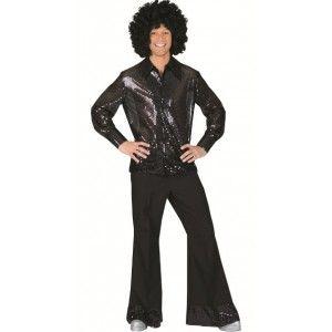 Déguisement pantalon disco noir avec paillettes sequin homme.