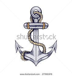 Hand Drawn Ship Sea Anchor With Rope, Elegant Sketch For Vintage Tattoos Design Or T-Shirt Print, Dot Work Art. Retro Vector Illustration Isolated On White Background. Nautical Collection. - 277891976 : Shutterstock