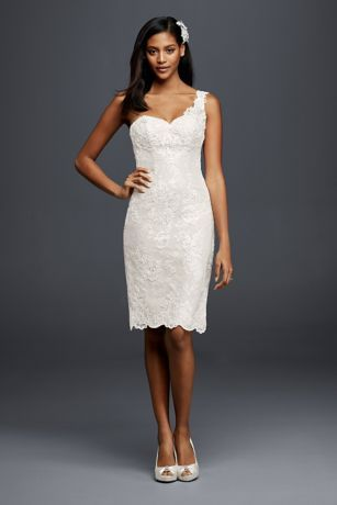 A short lace wedding dress is a chic choice for your ceremony, reception, or rehearsal dinner. The one-shoulder sweetheart neckline is ultra-flattering, and the scalloped lace on the strap and hem adds a sweet touch to the fitted silhouette.  Galina Signature, exclusively at David's Bridal  Lace  Back zipper; fully lined  Dry clean  Crafted in China Cherish your wedding dress forever with our Wedding Gown Preservation Kit.