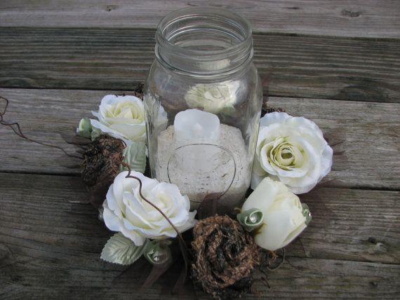Camo Wedding Centerpiece Mason Jar Centerpiece by TheVineDesigns