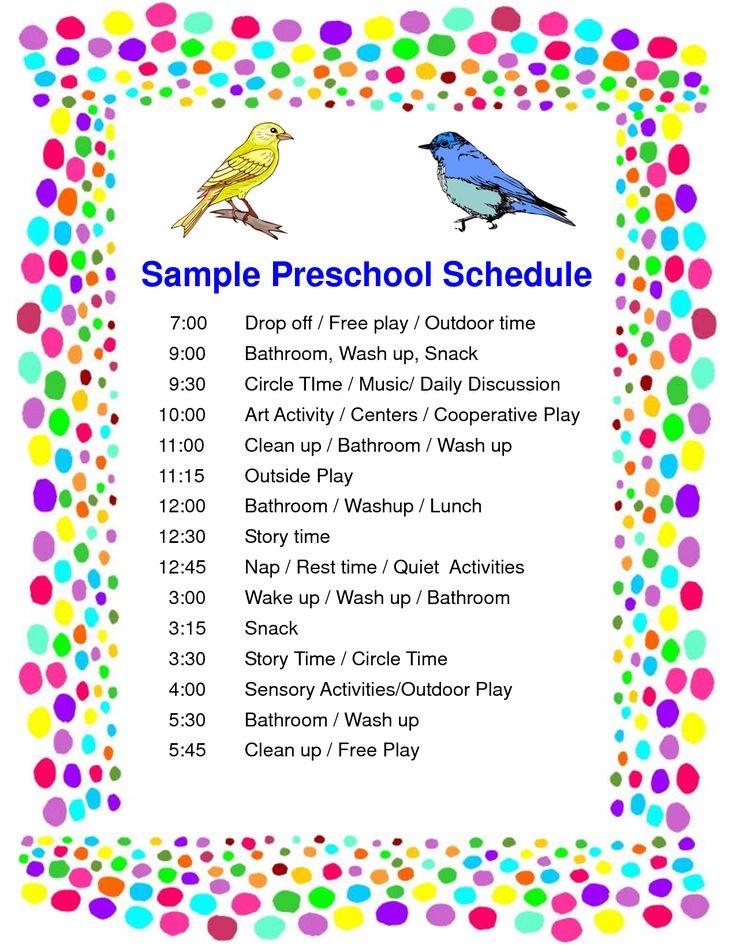 Schedule Preschool Sample PDF Teaching Groups of