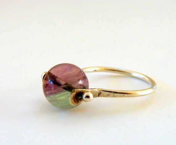 Fluorite Sterling Silver ring by Nafsika on Etsy, $37.00