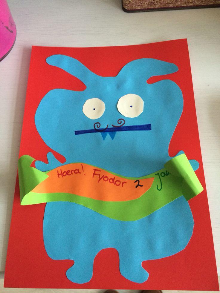 Verjaardag kaart voor de tweede verjaardag van Fyodor Thema ugly dolls http://www.uglydolls.com   Inspiratie Croudy, mooie petrol/blauw kleurige Ugly doll