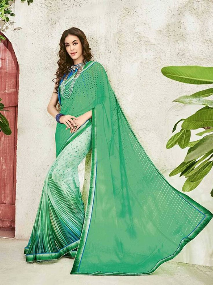 Meticulous green Digital Printted Party Wear Saree