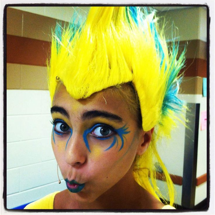 Samantha Money is wearing makeup so she can be Flounder, a Little Mermaid character. An upcoming Halloween make-up workshop will teach students how to get the look. Photo provided by AUDREY SIEGLER