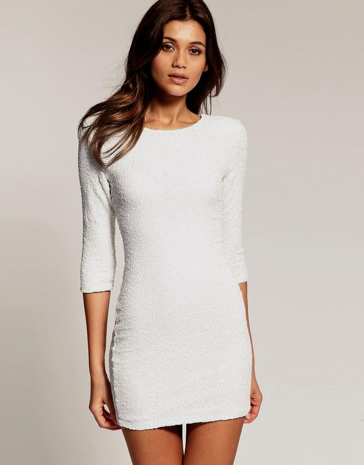 Tfnc london Tfnc Sequin Dress with Long Sleeves in Metallic | Lyst