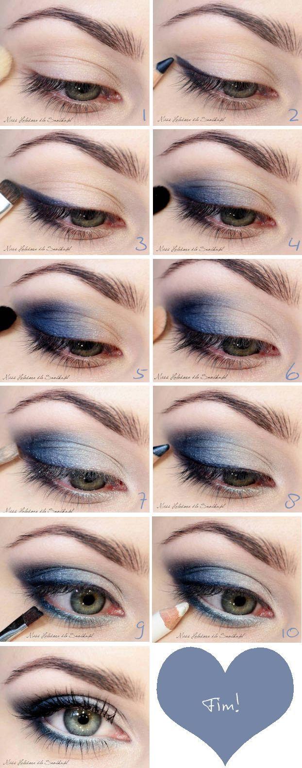 El maquillaje de ojos ahumados en azul, es igualmente uno de los mas utilizados para las reuniones u ocasiones de noche. Lo importante de este maquillaje es difuminar muy bien, de manera que quede impecable y parejo en ambos ojos.