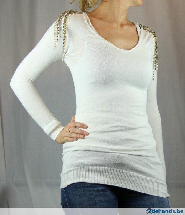 Witte trui met kettingen van Moggy's - Maat Medium