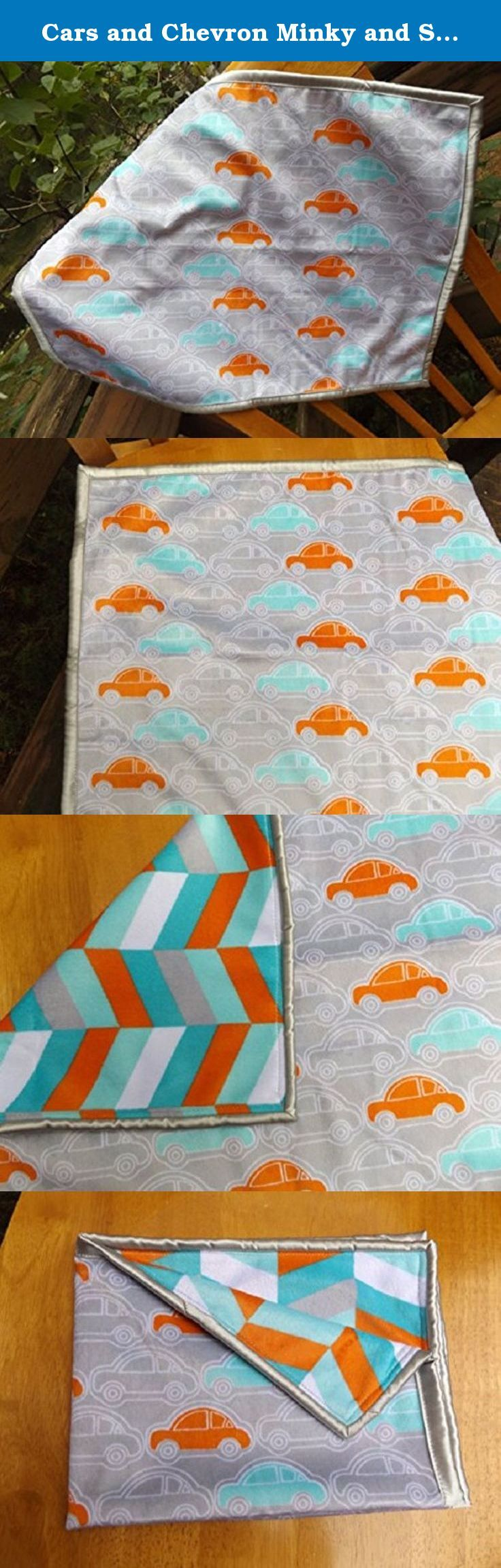 Cars and Chevron Minky and Satin Lovey Blanket, Orange, Aqua and Silver Security Blanket, Double Layer Stroller or Carseat Blanket, 2 Layer. The front of this blanket is a soft and cozy low nap velour like minky fabric in an orange, aqua and silver car print. The back of of blanket is a layer of the same style of minky fabric in an orange, aqua and silver chevron This blanket is perfect as a comforting security blanket, and also works great as a bedtime lovey blanket. Superior quality…