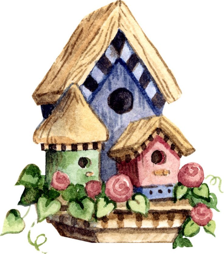 What vintage bird house paintings