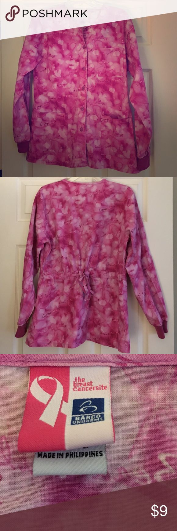 Breast cancer awareness scrub jacket💕 Gently used breast cancer awareness scrub jacket. Too small for me. Non smoking home. Barco Jackets & Coats