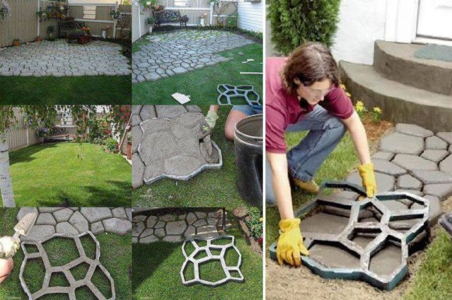 Diy quikrete walkway maker patio driveway concrete stamp form walkways patio and driveways - Insanely easy clever diy projects home ...