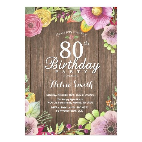Rustic Floral Surprise 80th Birthday Invitation - invitations custom unique diy personalize occasions