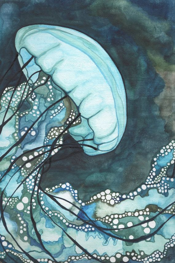 Aqua Sea Nettle Jellyfish 4 x 6 print of detailed hand painted watercolour artwork floating in whimsical blue green turquoise earth tones. Seen on Etsy.