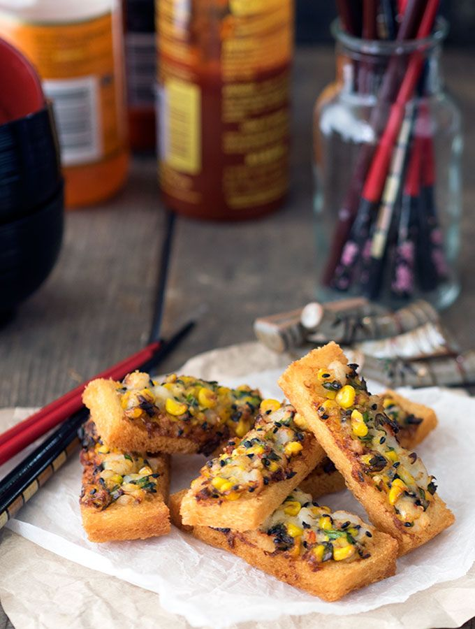 Mouth watering Prawn Toast with Corn & Black Sesame Seeds, easy to make and simply delicious | www.bellyrumbles.com