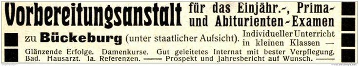 Original-Werbung/ Anzeige 1915 - VORBEREITUNGSANSTALT /  BÜCKEBURG - ca. 115 x 20