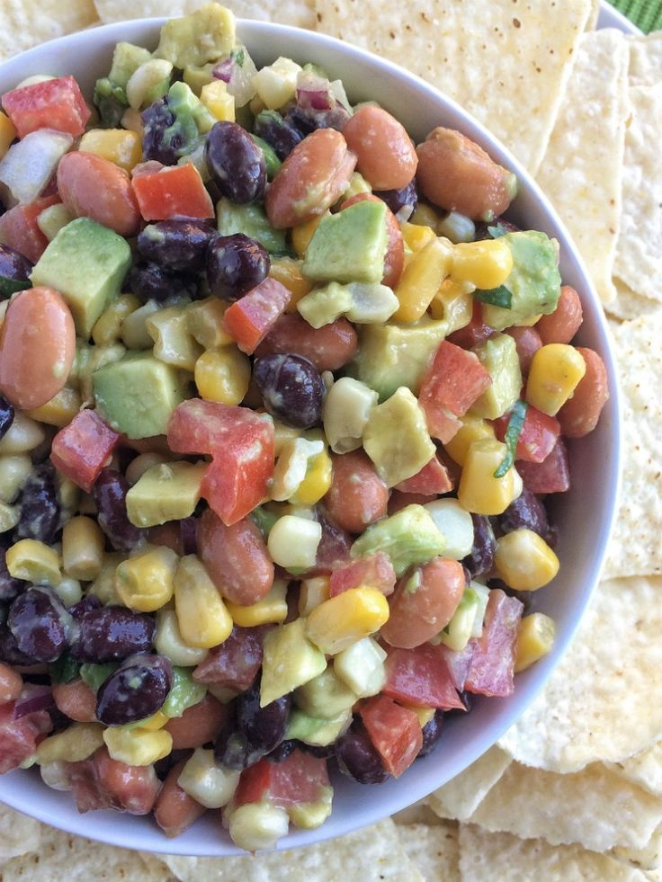 This hearty cowboy caviar chopped salsa is full of beans, veggies, lime, seasonings, and avocado! Perfect for game day, light lunch, BBQ, potluck, or as a healthier snack option. Chop up some vegetables and combine everything in a bowl. I meant to post this cowboy caviar chopped salsa yesterday. But then I got too busy …