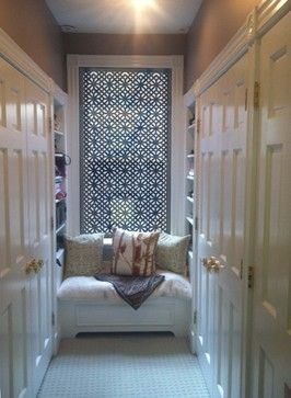 """Delia Shades' Custom Solar Shades in """"Diamond Fret"""" pattern - eclectic - roller blinds - new york - Delia Shades"""