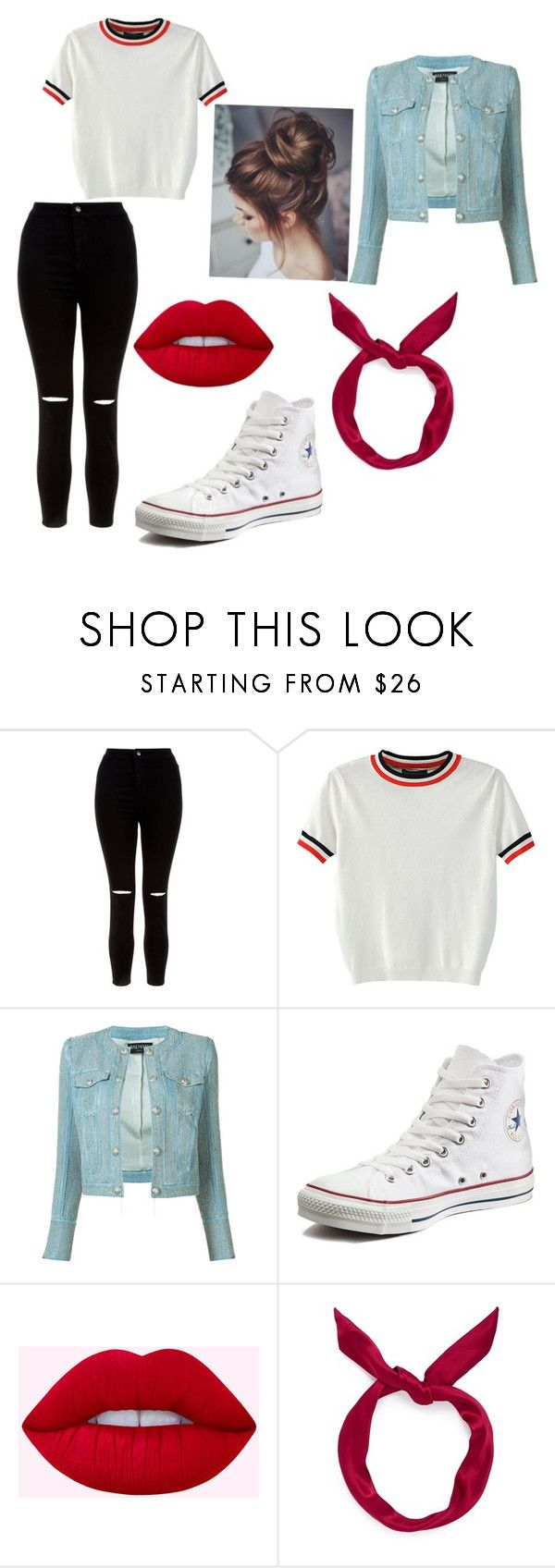 Outfit by verrethannah on Polyvore featuring New Look, WithChic, Balmain, Converse and yunotme