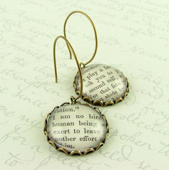 Jane Eyre English Literature Earrings  I am no by JezebelCharms, $28.00