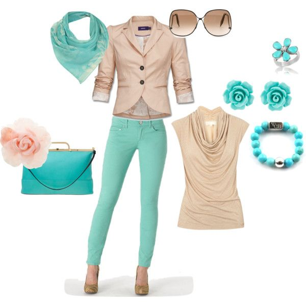 mint green pants outfit, created by johannaboth on Polyvore