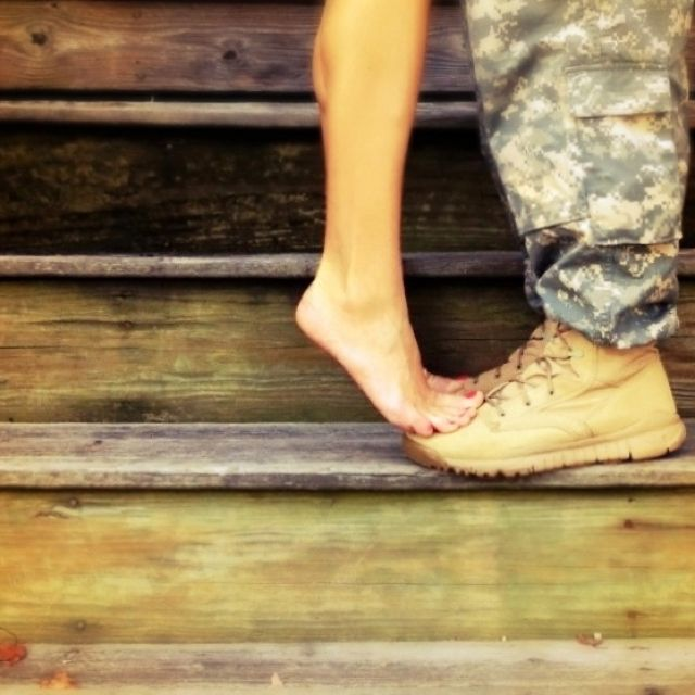 Soldier love. army wife adorable! I want this pic of me and my Hubbers! :)