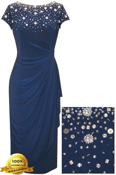 Alex Evenings 435808 Matte Jersey T-length Dress (Plus Size) - Cocktail Dresses
