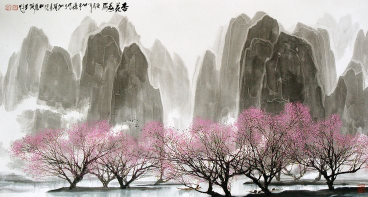 杜應強 Du Yingqiang 杏花春雨 Blossom under the spring shower 96.5x178cm 設色紙本 ink and color on paper  #art #gallery #ink #contemporary #hongkong #painting #artwork #hongkongartgallery #chineseart #asian #asianart #nature #exhibition #artist #modern #artwork #passion #contemporaryart #drawing #drawings #artgallery #nature #spring #rain #view #blsoom #duyingqiang