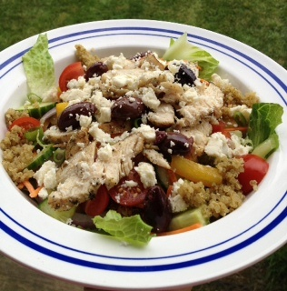 Grilled Greek Chicken Salad with Mediterranean Quinoa.  Perfect for Advocare 24 Day Challenge and lifestyle!  https://www.advocare.com/130547111/Store for products and info.