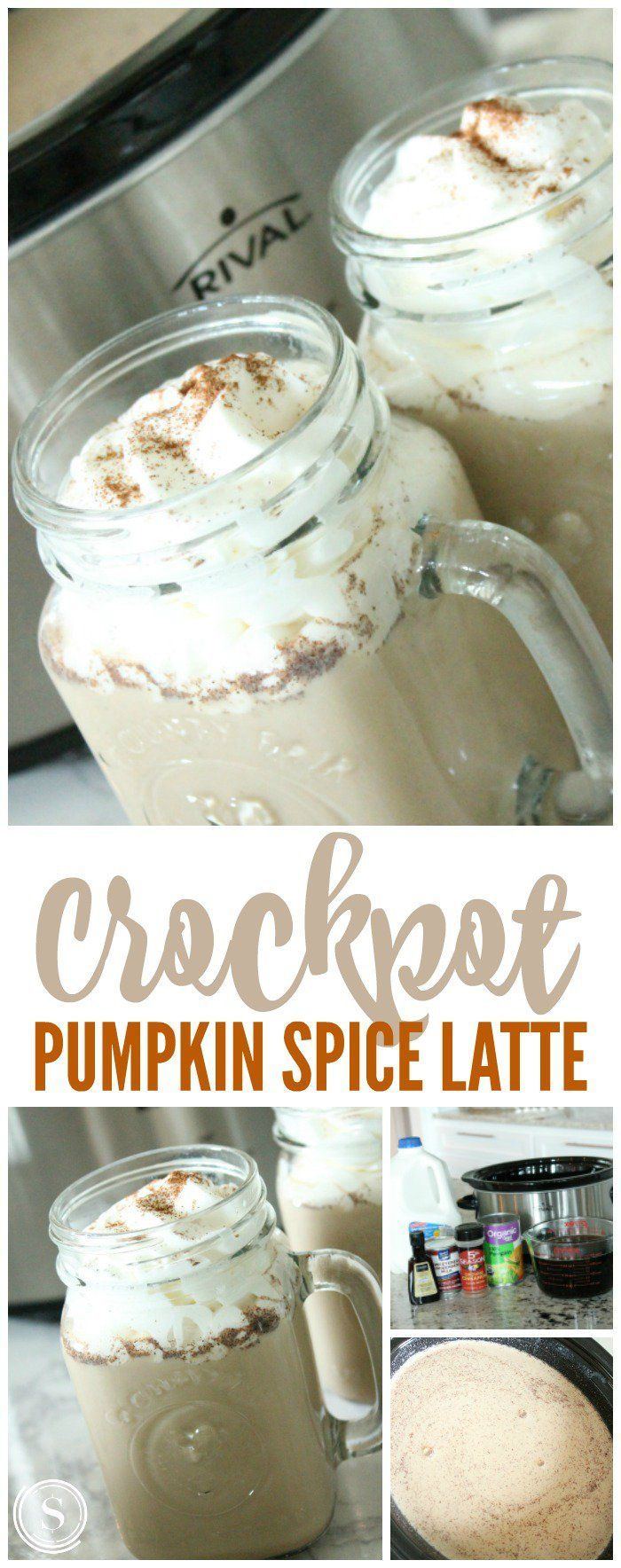 Crockpot Pumpkin Spice Latte! My NEW Favorite Fall Drink Recipe for Thanksgiving, Christmas, Holidays, Parties, and more! Super simple in the slow cooker!