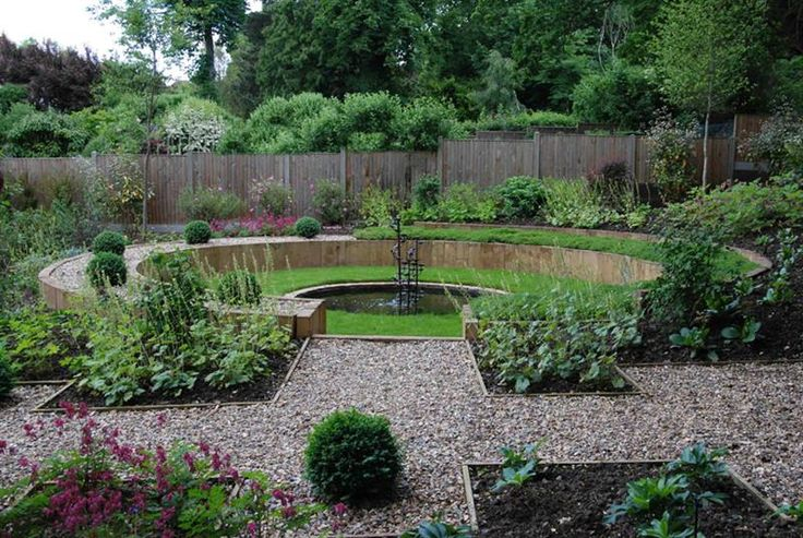 Sunken circular chamomile lawn with central round pond and encompassing curved raised planter for A b lawn and garden