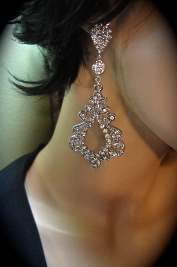 Crystal Chandelier Statement Earrings Victorian Large Art Deco Exotic Wedding For A Bride Boho Bridal Jewelry In 2018 Jewel