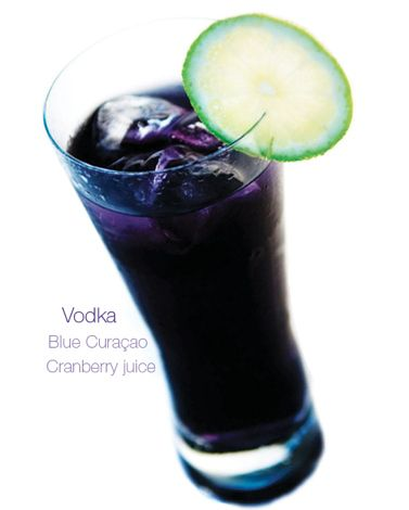 Purple Rain: vodka, blue Curacao, and cranberry juice| Gorgeous Signature Cocktails In Every Color Of The Rainbow