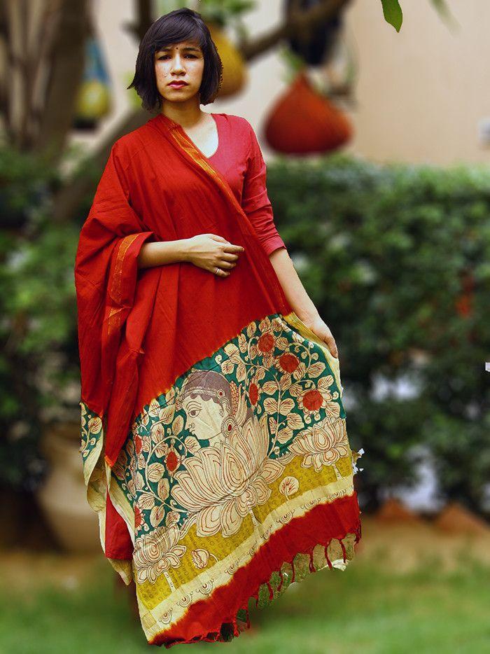 Red - Green Handpainted Kalamkari Cotton Dupatta