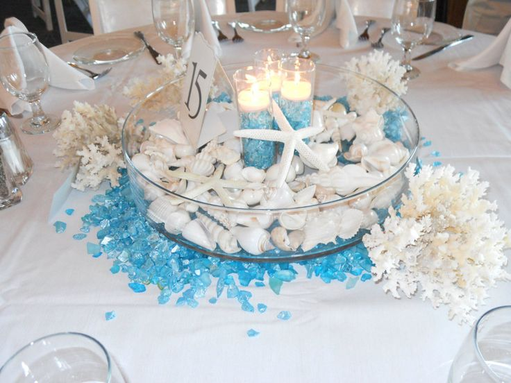 Beach Centerpieces and wedding reception decor with seashell, candles, and aqua jewels