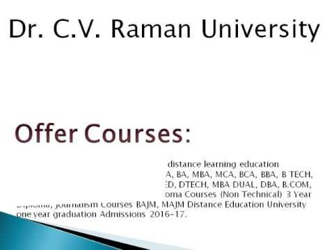 Dr  C V  Raman University Distance Learning in India