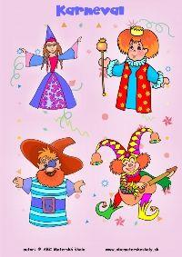 Karnevalové vystrihovačky, masky, škrabošky. Interaktívna hra Karneval - Kto je kto? Priraď podľa obrysu, výrazy tváre...