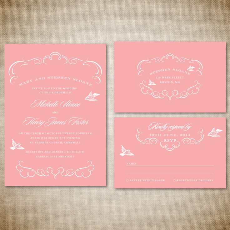 tulip wedding invitation templates%0A Printable wedding invitation and RSVP card Classic by envyanvi